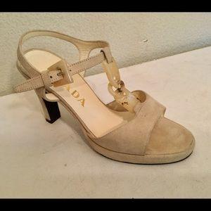 Prada beige tan suede sandals 36